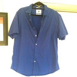 CACTUS New York Blue Button Up Mens Cotton Shirt
